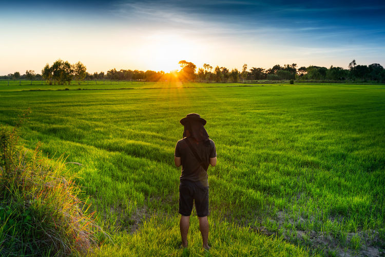 One Person Plant Field Land Real People Green Color Standing Landscape Sky Grass Beauty In Nature Sunset Hat Scenics - Nature Growth Nature Lifestyles Rural Scene Environment Outdoors Lens Flare Farmer