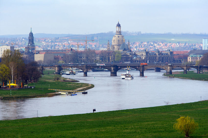 vue of the old city of Dresden without Elbschlösschenbridge Architecture Bridge - Man Made Structure Built Structure City Cityscape Connection Culture Day Dresden Elbe River Elbtal Engineering Famous Place Grass History International Landmark Outdoors River Sky Skyline Tall - High Tourism Travel Destinations Water Without Elbschlösschen Bridge