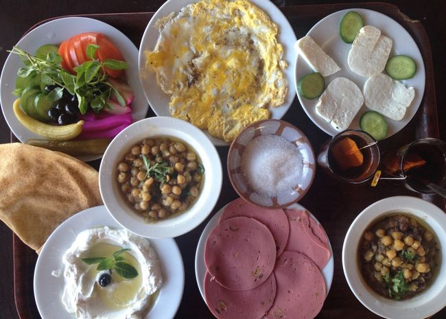 Breakfast Food Fresh Sidon Lebanon East Mediterranean Foul  Labneh Circles Food Stories Food And Drink Healthy Eating Freshness Choice Variation Wellbeing Ready-to-eat Table Bowl Meal High Angle View No People Plate Indoors  Vegetable Serving Size Directly Above Still Life