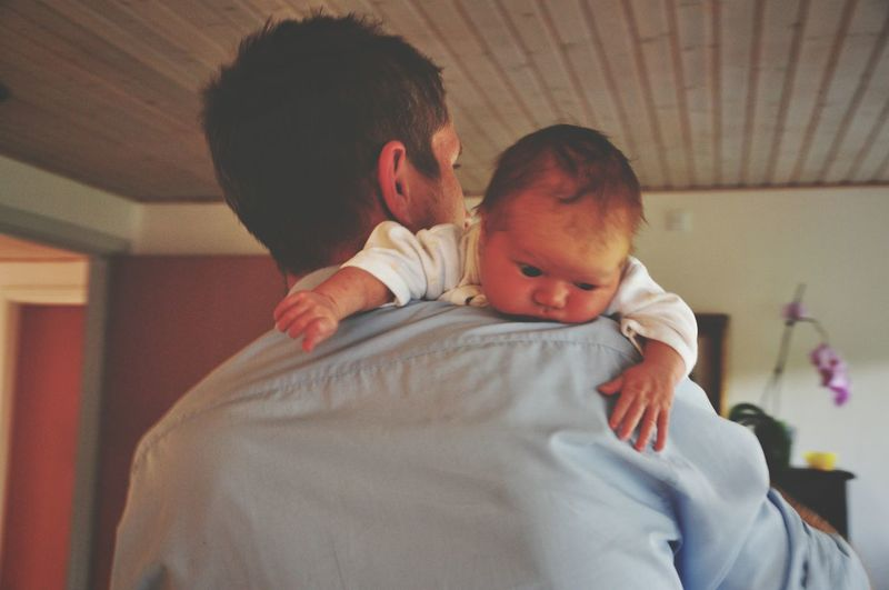 Baby Love Two People Newborn New Life Bonding Togetherness Care People Fragility Day Adult Indoors  Baby And Father
