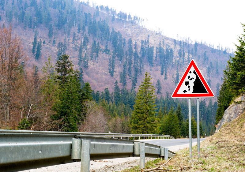 Falling stones, road sign Highland RISK Sign Alert Beware Cliff Day Falling Stone Forest Highway Landscape Mountain Mountain Road Nature No People Outdoors Road Sign Roadside Roadway Rockfall Spring Springtime Tree Triangle Sign Warning Sign