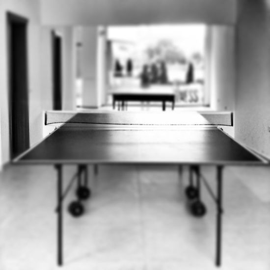 Playing Pingpong Black And White Sport