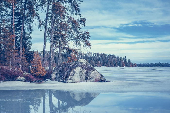 Beauty In Nature Cold Temperature Day Landscape Landscapes Melting Melting Ice Melting Snow Nature No People Ontario, Canada Outdoors Reflection Reflections Reflections In The Water Scenics Snow Spring Springtime The Week On EyeEm Tree Tree Reflections Trees Water Water Reflections