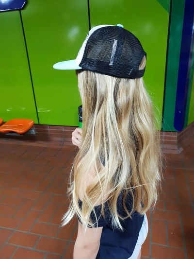EyeEm New Here Blond Hair Long Hair Hair Cap U Bahn Statio Dortmund Daughter My Daughter ♥ No Animal EyeEm EyeEm Here Eyeem Human Eyeem Human Photograph Green Background Orange Chair Chair Green Human Hand Low Section Young Women Cleaning Equipment