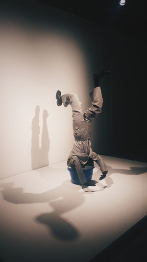 Shadow Indoors  Indoors  Centre Pompidou Malaga Art Gallery Places Arts Culture And Entertainment Art No People Man Statue Sculpture Funny