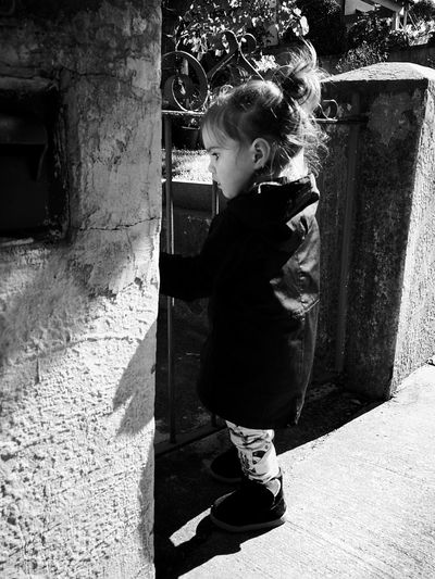 Childhood Children Only Child One Person Full Length Shadow Sunlight One Girl Only Day People Standing HuaweiP9 Tranquility Old Gate Baby HuaweiP9Photography Indoors  Secret Gardens Old-fashioned