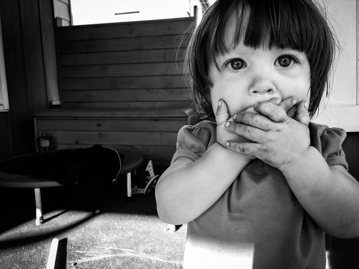 Gasping little girl. Childhood Child Looking At Camera Real People One Person Close-up toddler surprised surprise