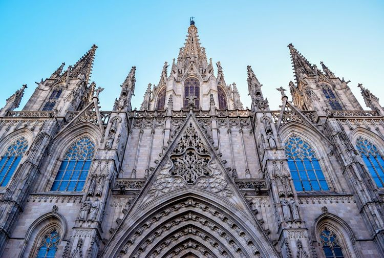 Low Angle View Of Barcelona Cathedral Against Clear Sky In City
