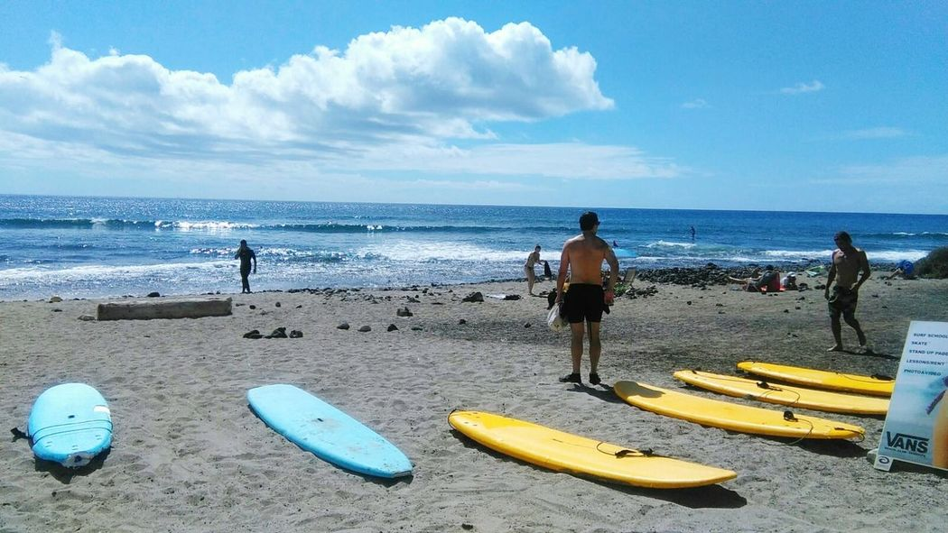 Surfing Surfboard Beach Sea Sand Sky Horizon Over Water Cloud - Sky Water Vacations Outdoors Blue Tranquillity Tenerife Island Sea And Sky Seaside Sea Life Sea Nature