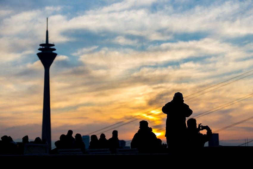 Düsseldorf, Germany Deutschland Düsseldorf NRW Rheinufer Sonnenuntergang Cloud - Sky Group Of People Orange Color Real People Rheinturm  Silhouette Sky Sunset