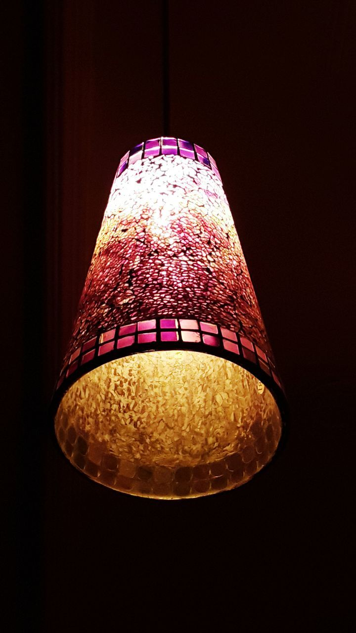 lighting equipment, illuminated, no people, low angle view, lamp shade, electricity, night, indoors, close-up