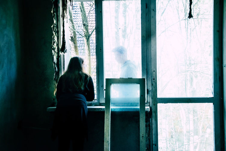 EyeEmNewHere Photooftheday Photography Poland Girl Women Ghost Mystery Ruins Ruined Window People Love Couple First Eyeem Photo Art Sitting Curtain Window Men Looking Through Window Thinking Thoughtful Loneliness Depression Depression - Sadness