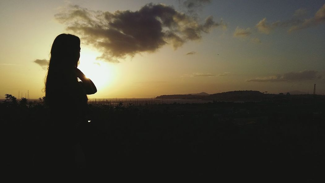 Silhouette Sunset Nature One Person Landscape Outdoors Sky Beauty In Nature