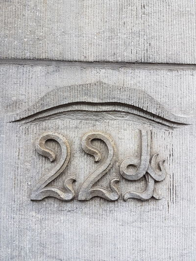 Art Nouveau Street Number Art And Craft No People Close-up Day Outdoors