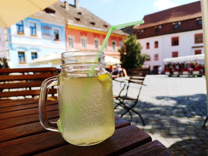 Lemonade Mojito Drink Drinking Glass Summer Table Cold Temperature Citrus Fruit Cafe Alcohol Lemon