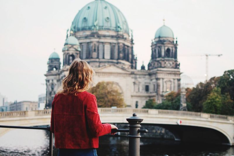 Berlin Cityview Sightseeing The EyeEm Facebook Cover Challenge Person Woman Blonde Lifestyles Selective Focus Red Street Fashion Streetphoto_color Looking To The Other Side Looking Into The Future Young Women Portrait From Behind Capture Berlin Women Around The World Discover Berlin Connected By Travel