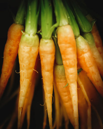 Baby Carrots Healthy Food Close-up Focus On Foreground Vegetables Orange Color Fresh Produce