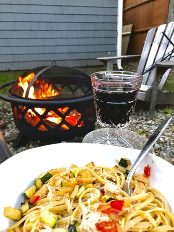 Food And Drink Food No People Italian Food Freshness Flame Ready-to-eat Outdoors Healthy Eating Day Close-up Backyard Homemade Home Cooking Pasta Wine Relaxing Wine Not