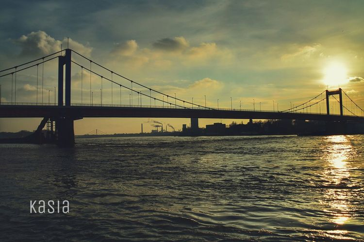 Sunset Duisburg Germany Ruhrort Rhein Bridge River Goodnight ♡
