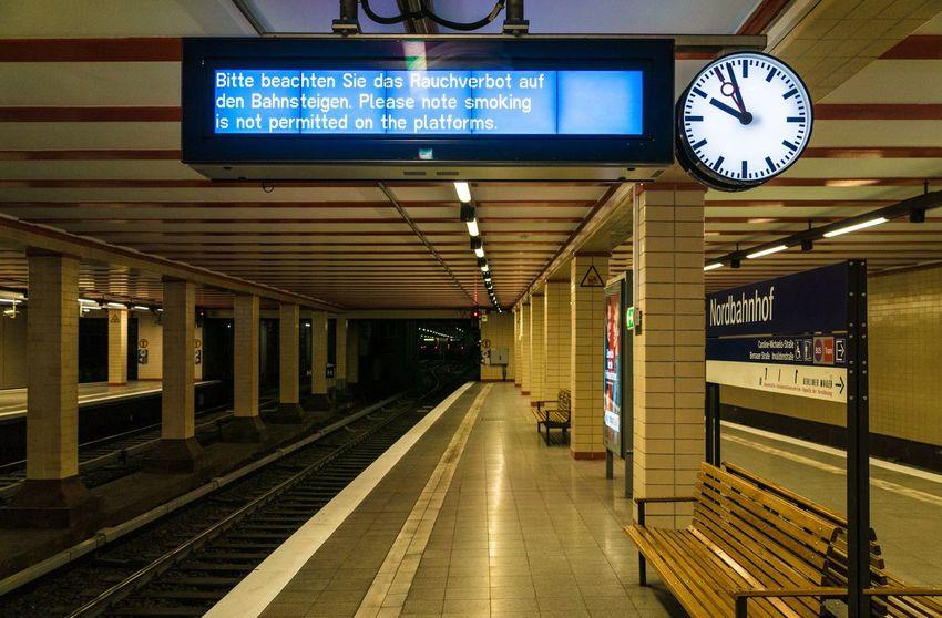 Berlin Photography Berliner Ansichten Clock No Smoking No Smoking Sign Rauchen Verboten S-bahnhof Seating Bench Sign Station Station Clock Station Platform Subway Station