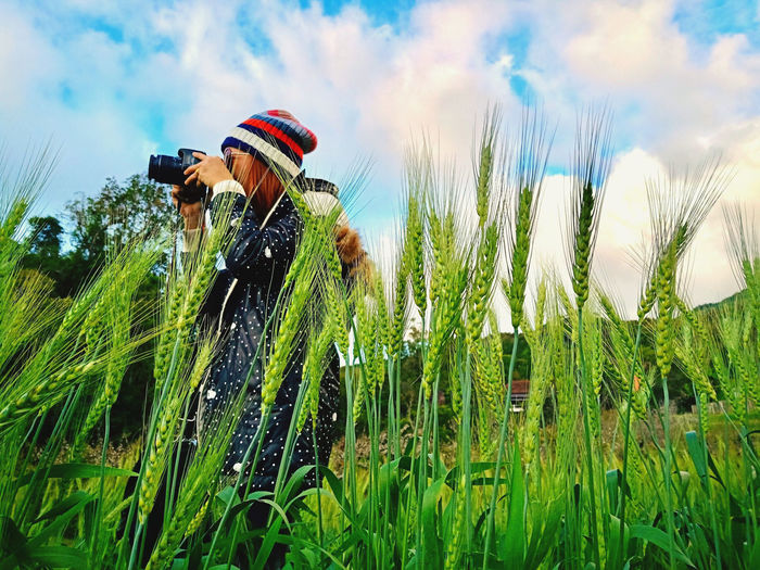 Woman photographing amidst grass against sky