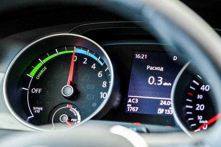 Close-up of tachometer in car