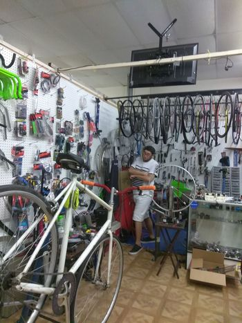 Bicycle Store Bicycle Shop Retail  Hanging Business Finance And Industry Large Group Of Objects Indoors  Sport City One Man Only Adult Day One Person Only Men People