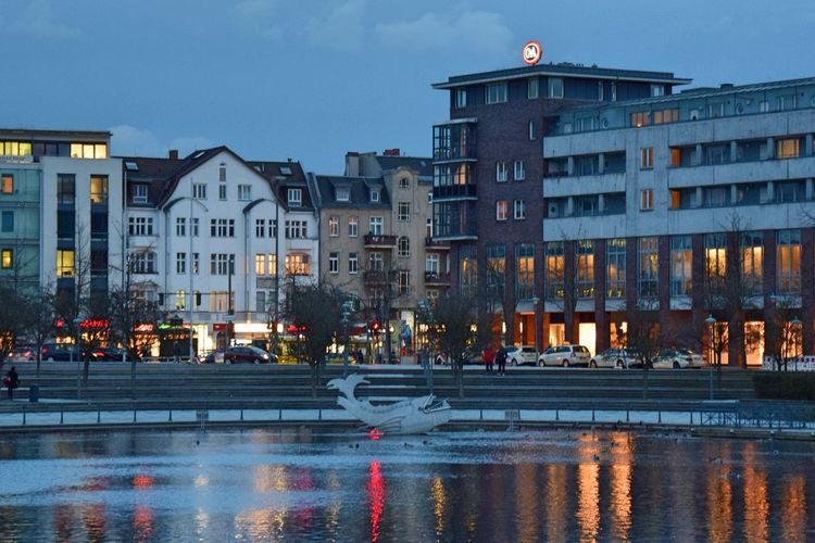 Architecture Berlin-Tegel Building Exterior Built Structure City City Life Harbour Illuminated Night Night Lights Nightphotography No People Outdoors Reflection Sky Water