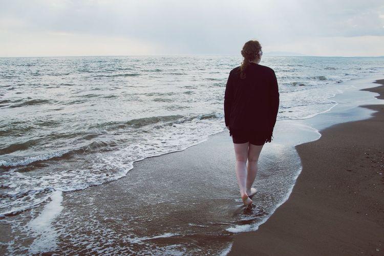 Walk away Summer Vacation Walking Vacations Nostalgic  Peaceful Tarquinia Summertime Water Girl Woman Steps Summertime Water Sea Wave Beach Human Back Women Full Length Sand Summer Beach Holiday
