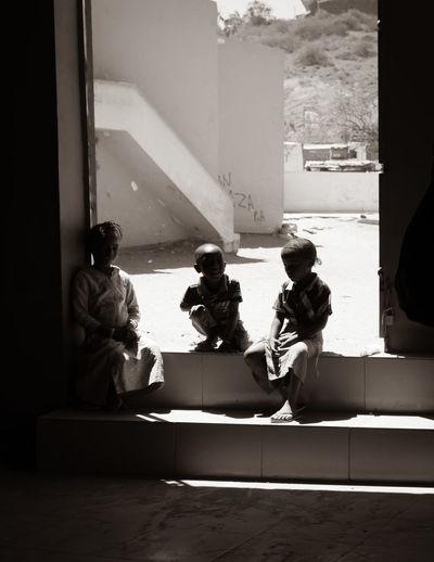 Kids sitting on