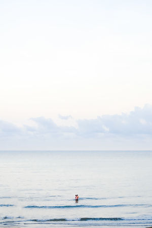 Minimalist Beach Beauty In Nature Cloud - Sky Day Horizon Horizon Over Water Mode Of Transportation Nature Nautical Vessel One Person Outdoors Scenics - Nature Sea Sky Tranquil Scene Tranquility Transportation Water Waterfront