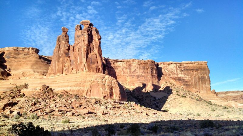 #arches #nationalpark #redrock #Utah Ancient Blue Day Eroded Famous Place History Low Angle View No People Old Old Ruin Outdoors Rock - Object Rock Formation Sky Stone Sunlight The Past Tranquility Travel Destinations