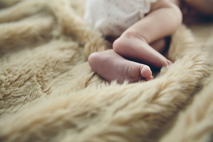 Detail of newborn baby feet lying on a blanket on the bed Heating Feet One Person Caucasian Care Innocence Home Girl Newborn Adorable Infant Sweet Undressed Kid Lying Small Little Beauty Childhood Cute Relaxing Horizontal Comfortable Blanket Baby