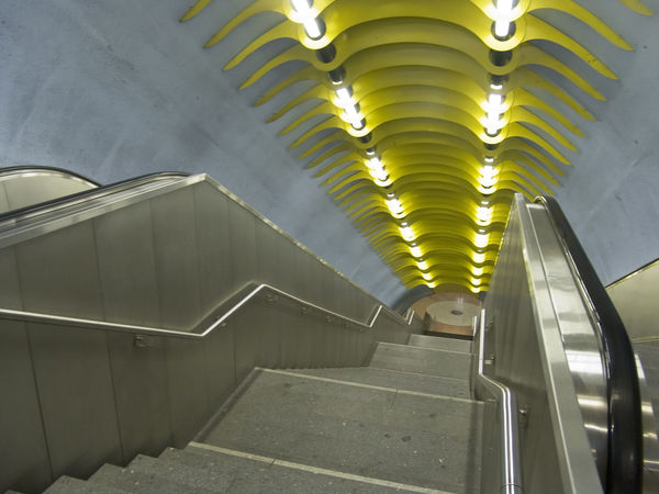 Architecture Building Built Structure Ceiling Direction Empty Illuminated Indoors  Lighting Equipment Metal Modern No People Railing Staircase Steps And Staircases Subway The Way Forward Transportation Underground Walkway Wall - Building Feature
