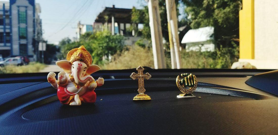 Reminding us of their presence Cardashboard Car Outdoors Car Interior #faith Religion Religious  Spirituality Tolerance Idol