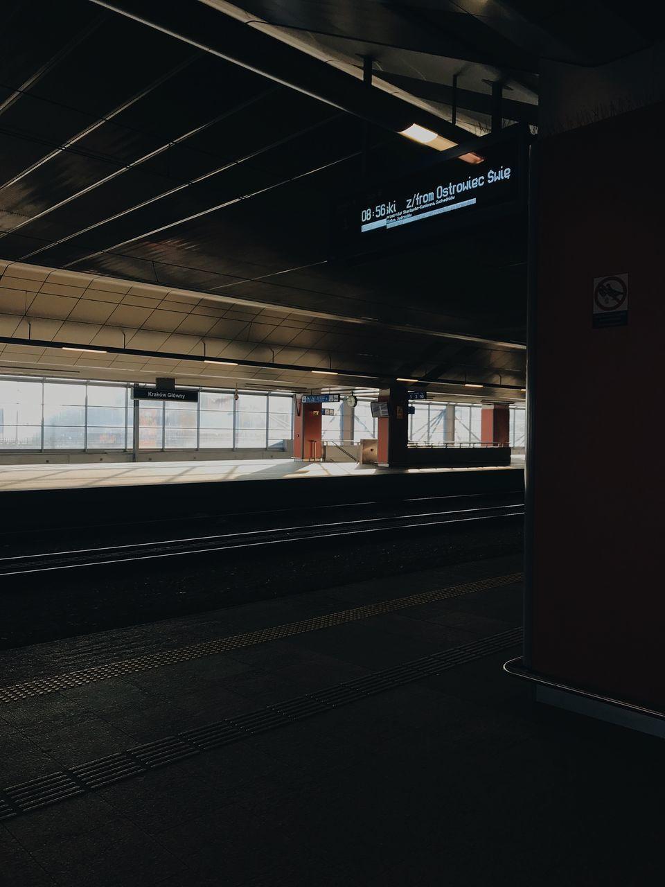 EMPTY RAILROAD STATION PLATFORM