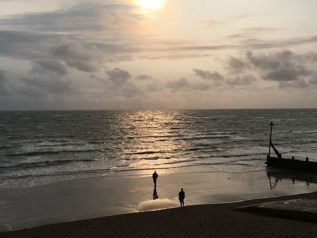 Last of the summer sun Sea Horizon Over Water Beach Scenics Sky Water Sunset Nature Silhouette Beauty In Nature Cloud - Sky Two People Tranquility Real People Walking Tranquil Scene Idyllic Sun Men Standing