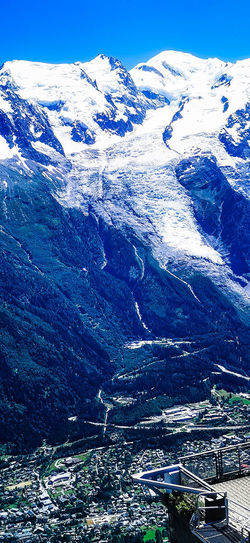 High angle view of snowcapped mountains