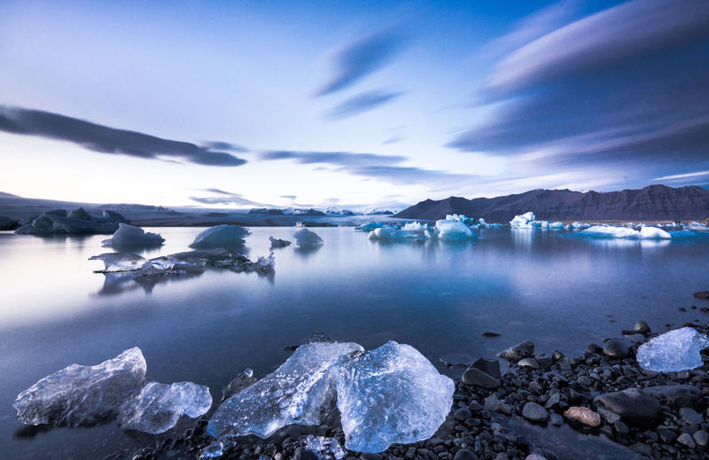 Scenic view of ice in lake against sky
