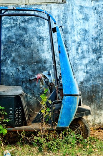 TEMPO Blue Car Worn Out Rusty Ruined Obsolete Discarded Bad Condition Civilization