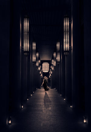 The walkway Arcade Architectural Column Architecture Building Built Structure Ceiling Colonnade Corridor Diminishing Perspective Direction Full Length Illuminated In A Row Indoors  Lifestyles Light Lighting Equipment One Person Real People Rear View The Way Forward Walking