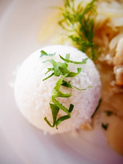 High Angle View Of Rice Ball Served In Plate
