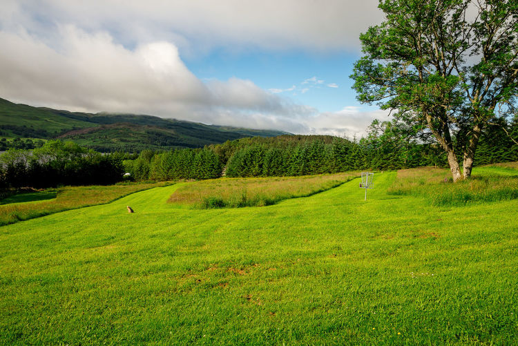 Fairway lawns at Loch Tay Highland Lodges disc golf course, central Scotland Family Golf Loch Tay Nature Panorama Scotland Scottish Tourist Attraction  Trees Activity Cloud - Sky Course Disc Fairway Flying Green Grass Highlands Lake Lake View Landscape Play Scenic View Sports Travel Destinations Visit