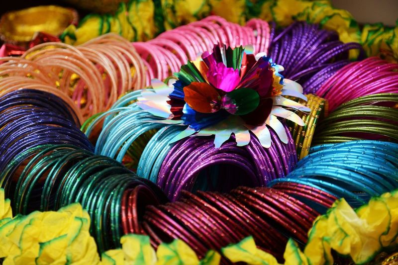 Close-up of colorful for sale in market