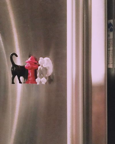 | Refrigerator Dogs | Refrigerator Magnets Stainless Steel  Dogs Poodle Fire Hidrant Vertical Lines Indoors  Toy Focus On Foreground Softness No People Reflections Magazine Art Room For Copy Room For Text Shiny One Color Dogs Fire Hydrant