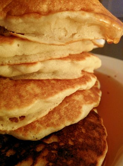Breakfast For Dinner Pancakes Tall Stack Dripping Syrup