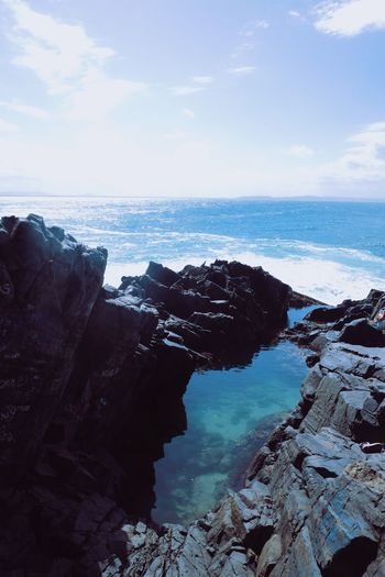 Beach Beauty In Nature Cliff Day Horizon Over Water Landscape Nature No People Outdoors Rock - Object Rock Formation Scenics Sea Sky Tranquil Scene Tranquility Water Go Higher