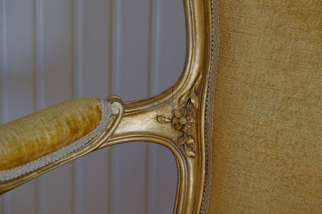 Antique Copy Space Delabre Easy Chair Homey Natural Light Natural Colours Pure Gold Antique Furniture Armchair Beauty In Details Carved Wood Chic Close-up Comfort Fauteuil Gold Colored Golden Armchair Home Interior Design Indoors  Luxury Mood Old Velvet Wood Chair