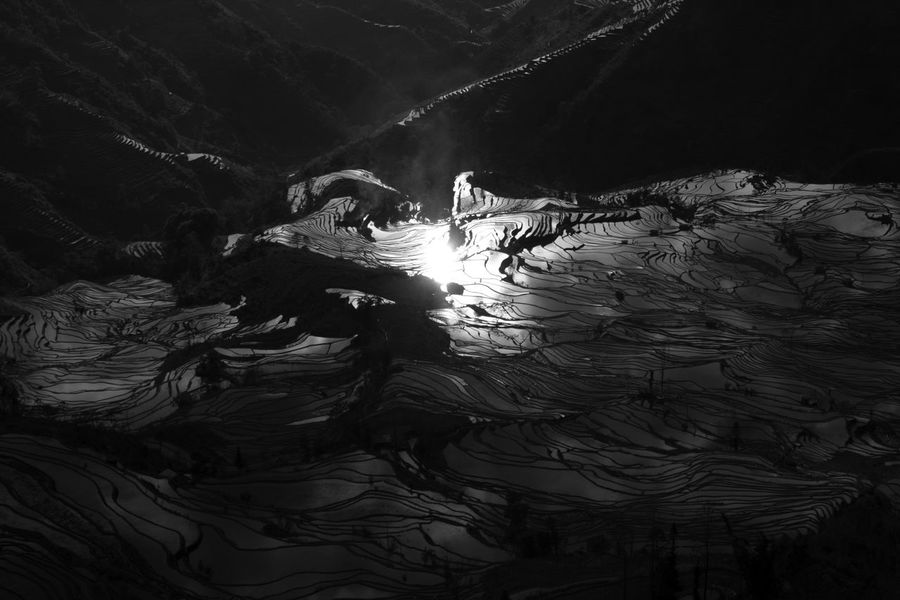 Blackandwhite China Day Nature No People Outdoors Rice Rice Field Rice Fields  Rice Paddy Rice Terraces Water Yuanyang Yuanyang Terraced Fields Yunnan