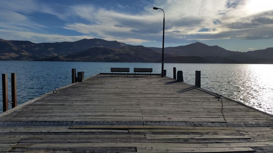Scenery Panorama Blue Sea Blue Water Emptiness Calmness Jetty Akaroa New Zealand Lanscape Wood Feel The Journey